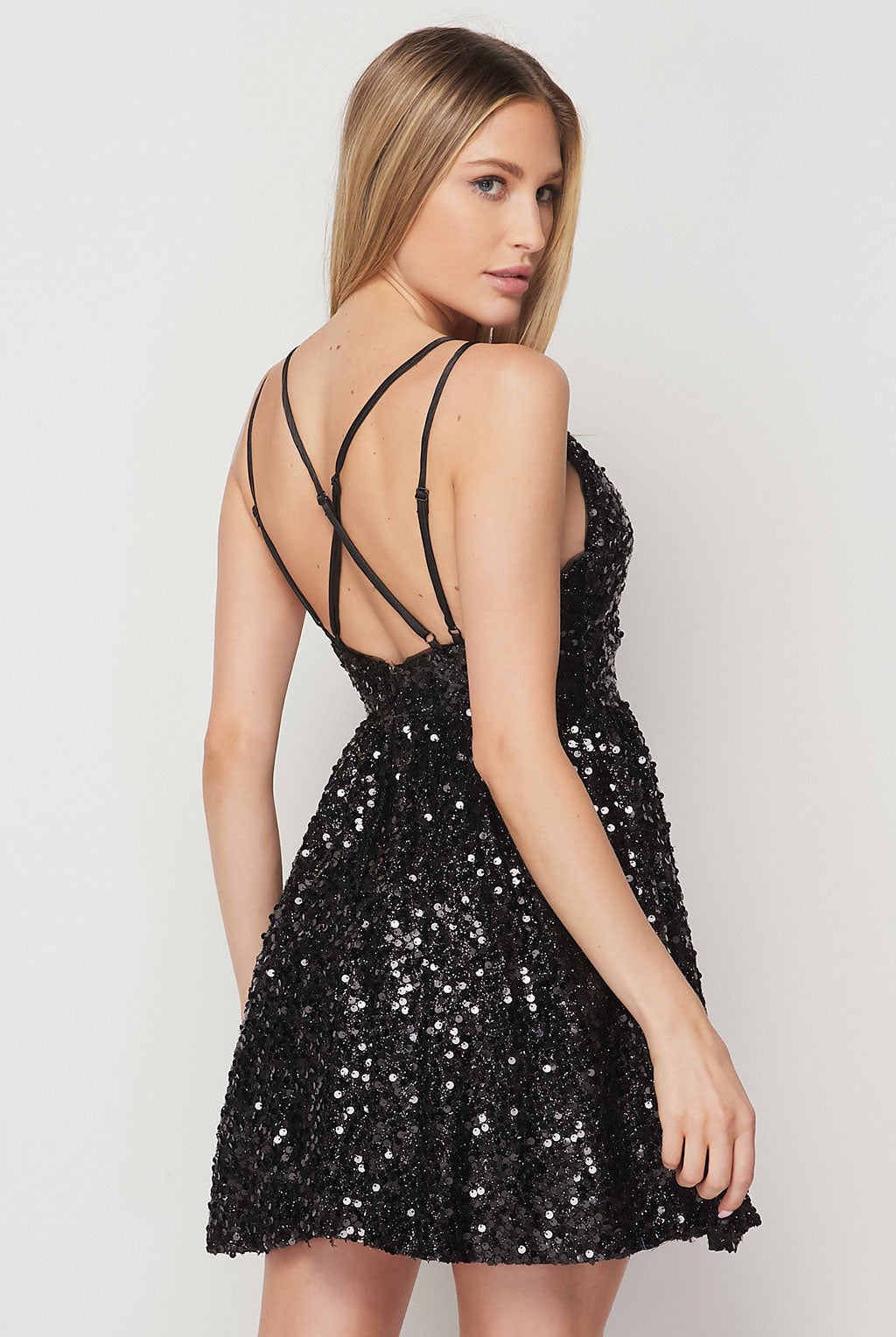 Teeze Me | Double Strap Sequin Fit And Flare Dress | Black