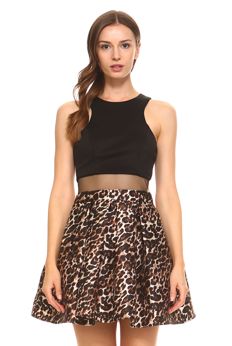Teeze Me | Illusion Waist Animal Printed Skirt Party Dress  | Black/Brown