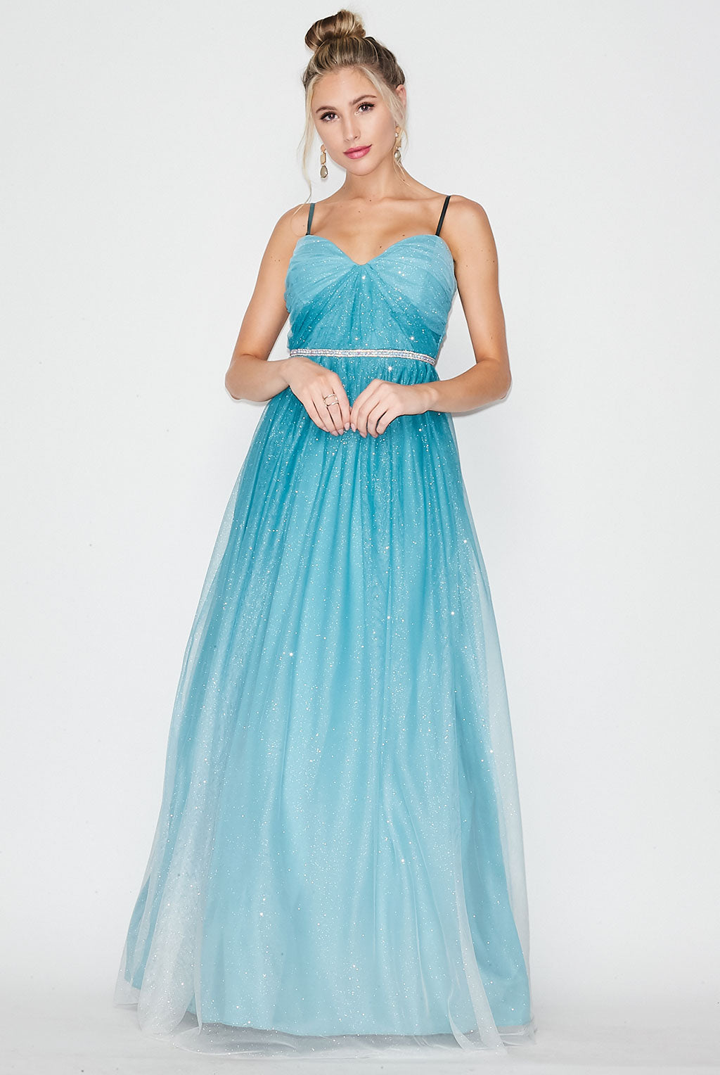 Teeze Me | Spaghetti Strap Mesh Ombre Glitter Ball Gown Prom | Sage Off White