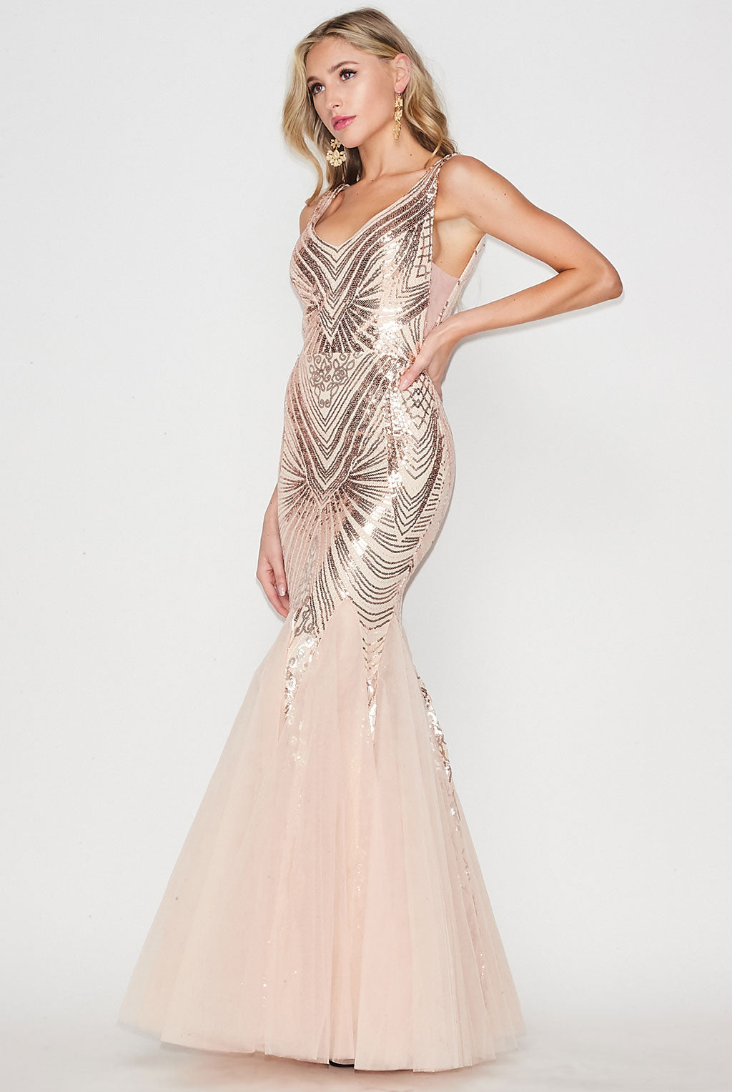 Teeze Me | Sleeveless Sequin Mesh Long Prom Dress | Blush