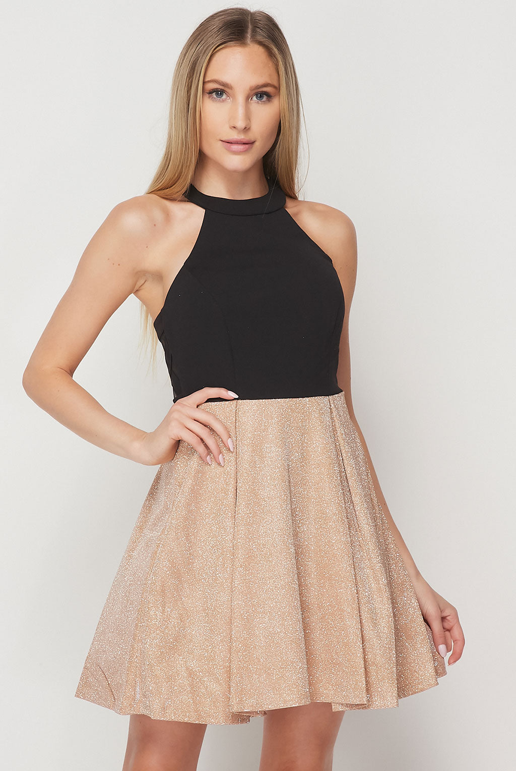 Teeze Me | Halter Top Glitter Skirt Fit And Flare Dress | Gold/Black