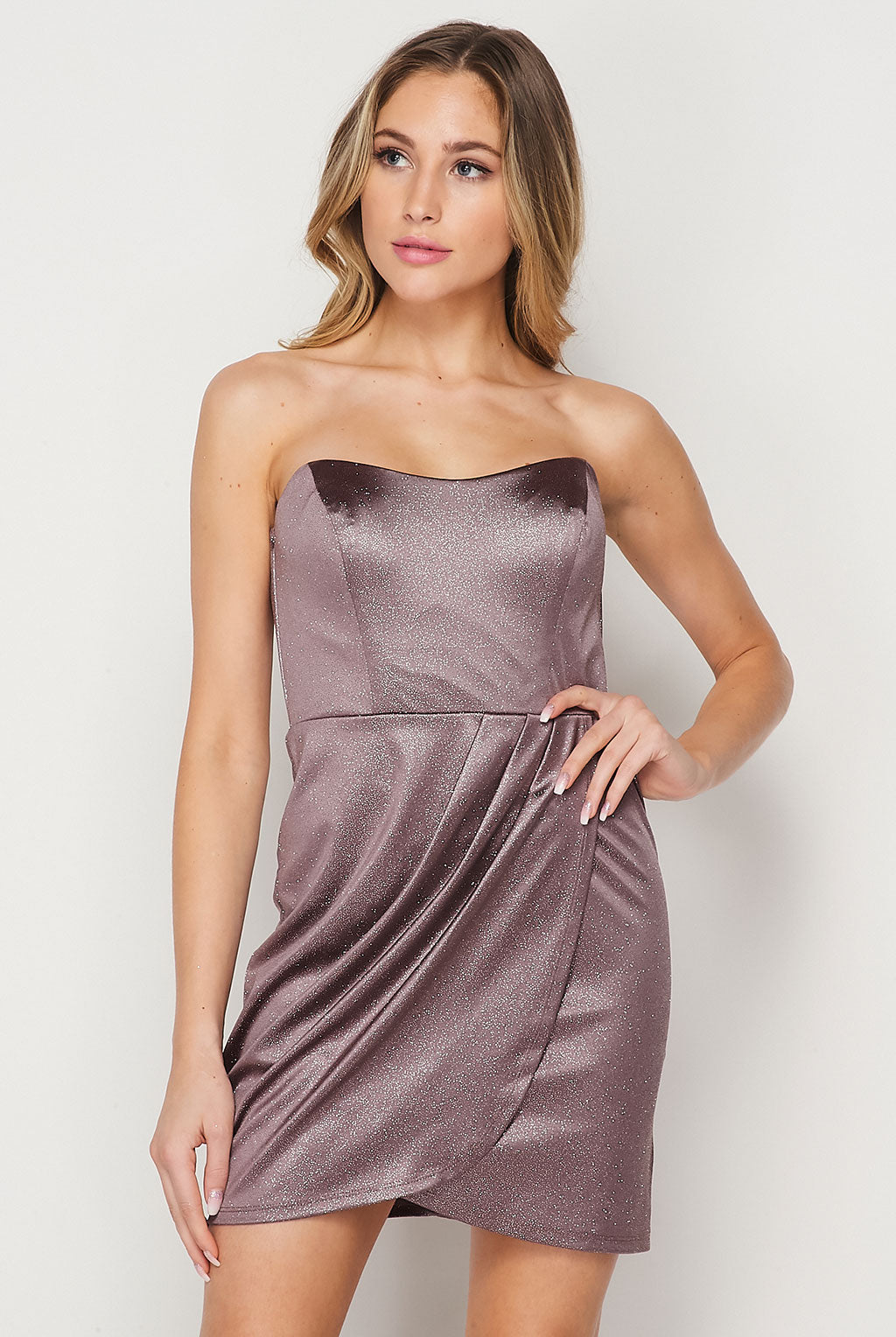Teeze Me | Strapless Glitter Wrap Short Dress | Taupe