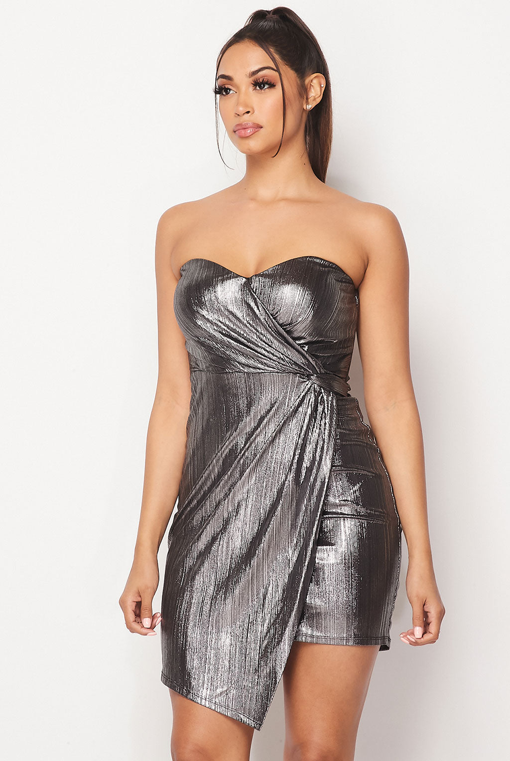 Teeze Me | Strapless Side Wrap Metallic Dress | Silver/Black