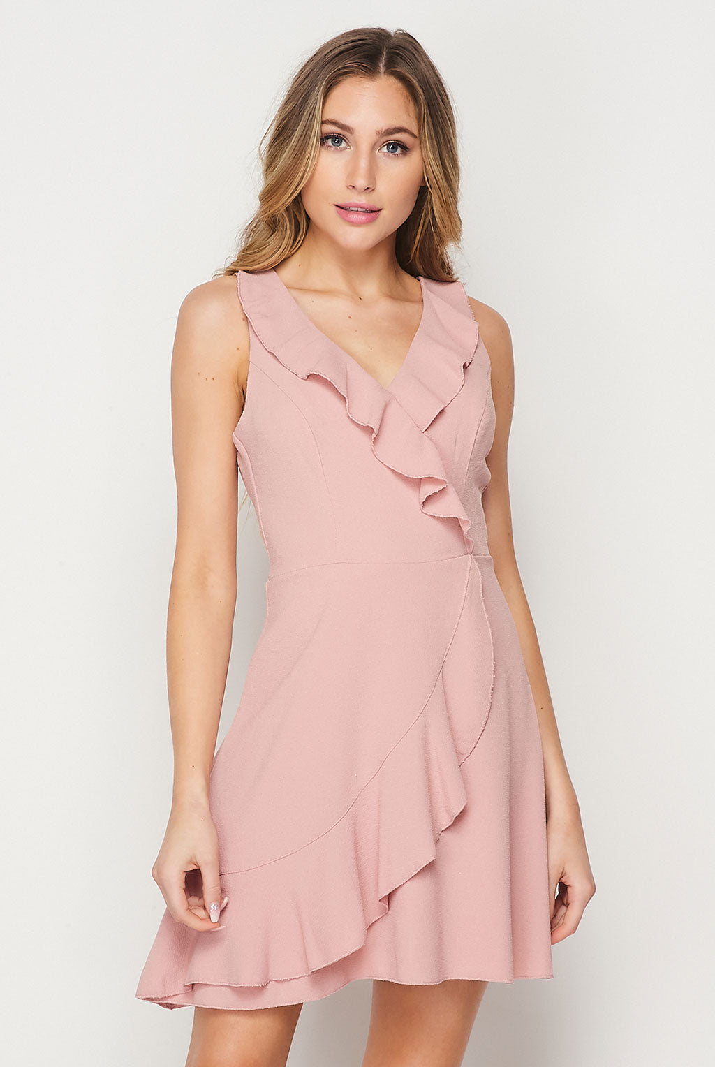 Teeze Me | Sleeveless V Neck Faux Wrap Ruffle Dress | Mauve