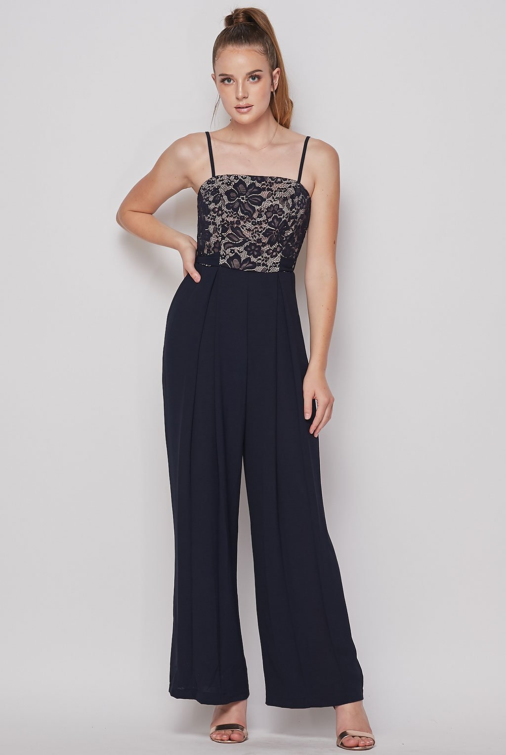 Teeze Me | Lace Top Jumpsuit | Navy/Nude