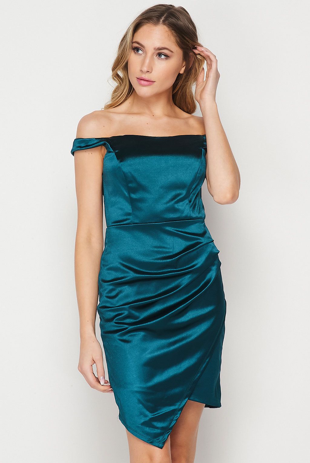 Teeze Me | Off The Shoulder Satin Drape Skirt Dress | Emerald