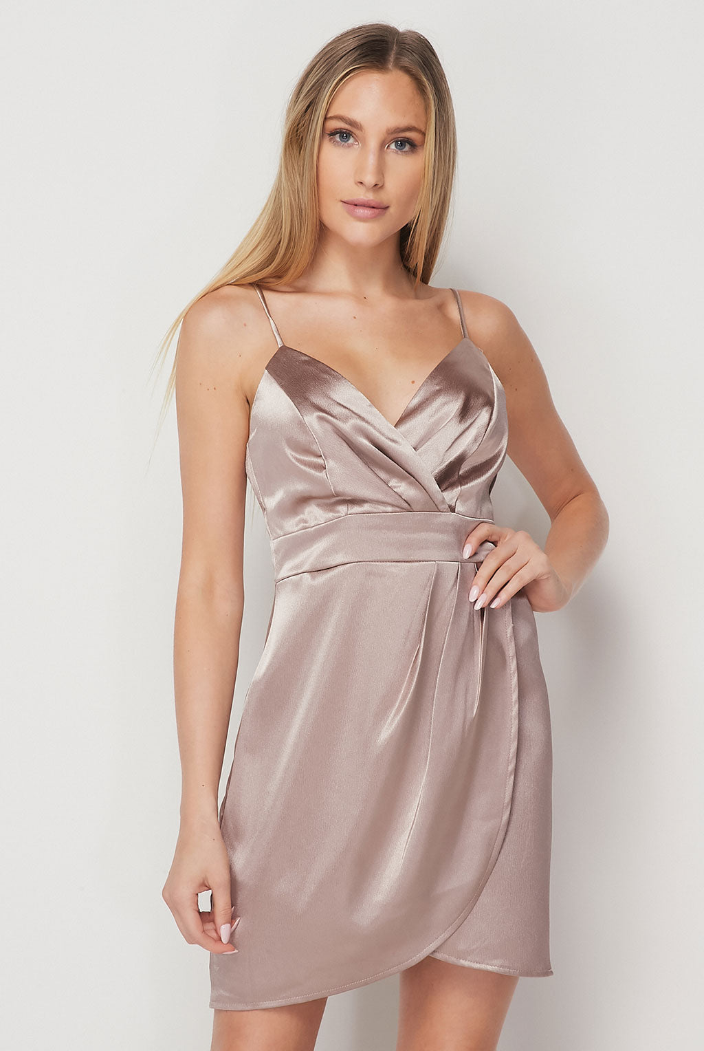 Teeze Me | Spaghetti Strap Stretch Satin Wrap Skirt Dress
