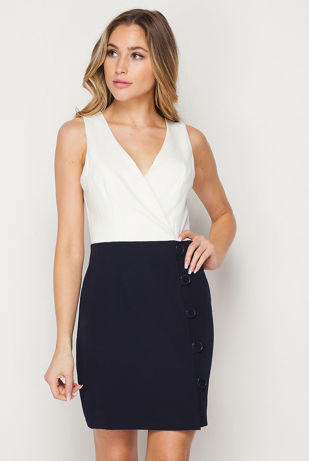 Teeze Me | V Neck Two Tone Button Skirt Dress | White/Navy