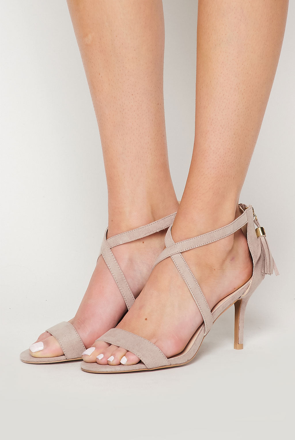 Teeze Me | Strappy Cross Band Tassel Heel | Nude