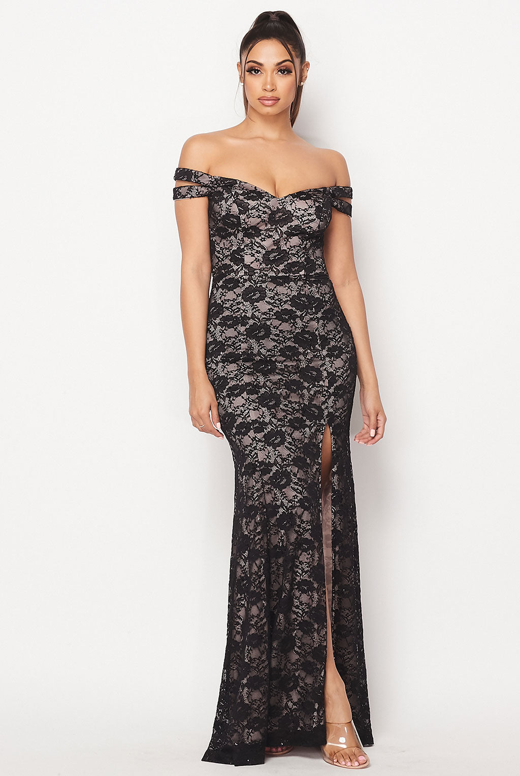 Teeze Me | Lace Off the Shoulder Lace Long Dress | Black/Nude