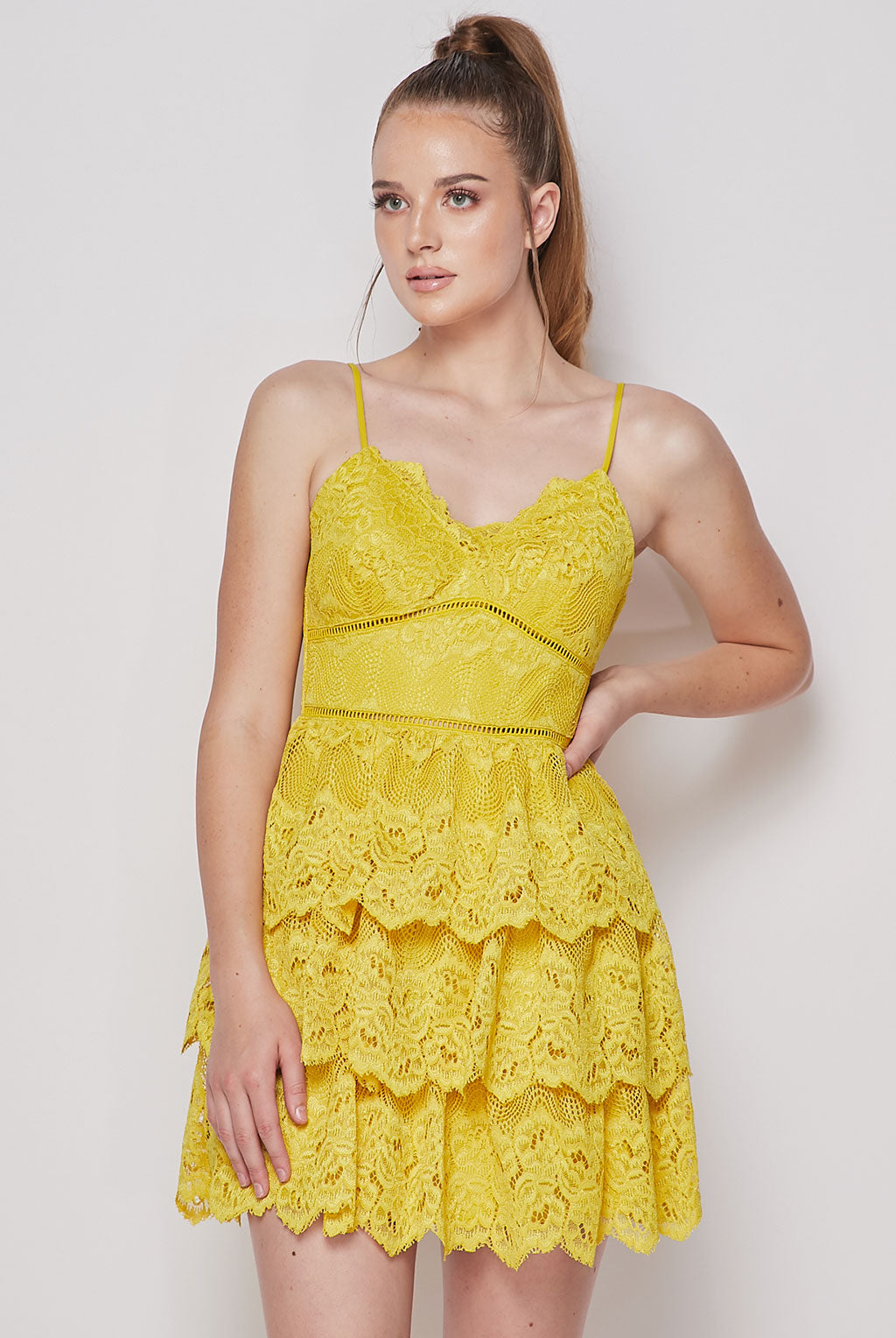 Teeze Me | Tiered Lace Fit and Flare Skater Dress | Mustard