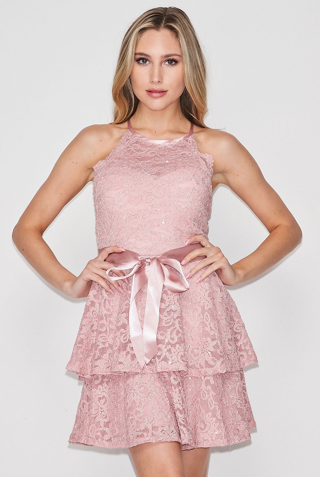 Teeze Me | Halter Top Glitter Lace Two-Tier Short Dress | Blush