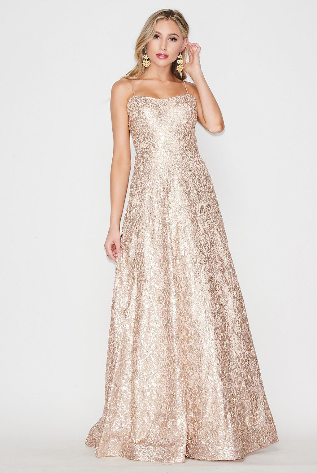 Teeze Me | Embroidery & Sequin Ball Gown Prom Dress | Gold/Blush
