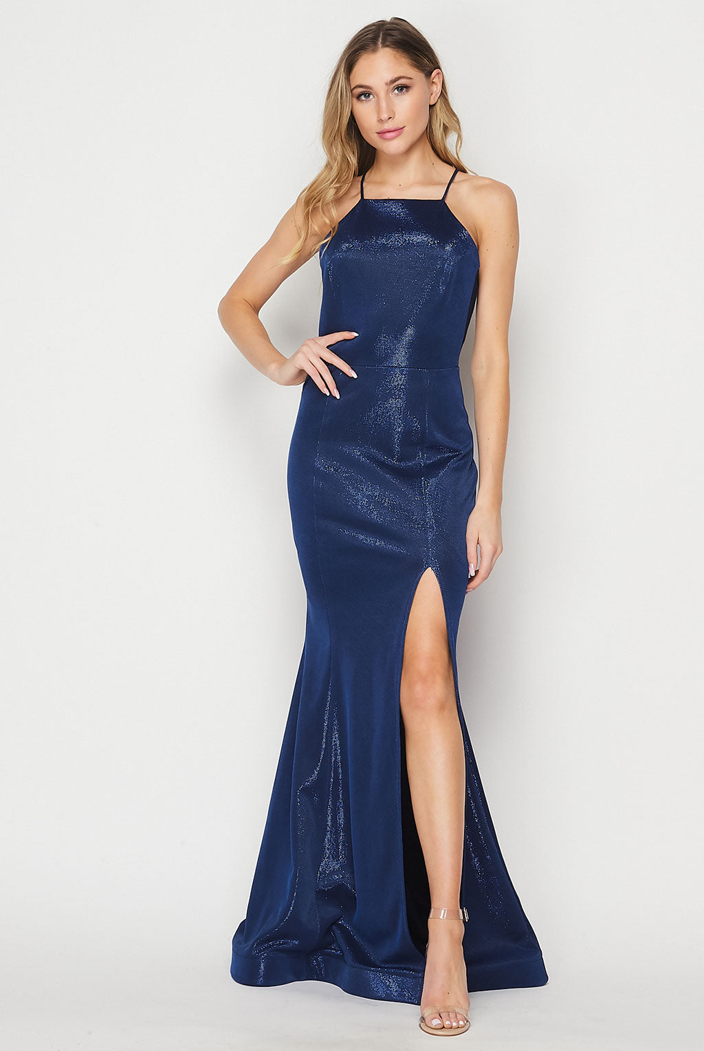 Teeze Me | High Neck With Slit Iridescent Glitter Long Gown | Royal/Navy