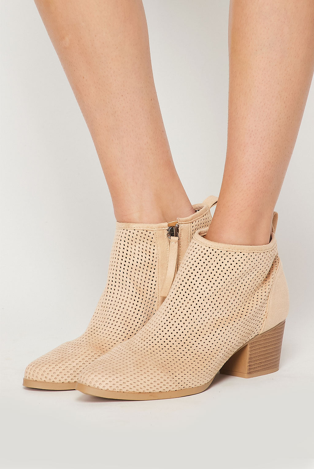 Teeze Me | Perforated Faux Suede Ankle Boot | Toast
