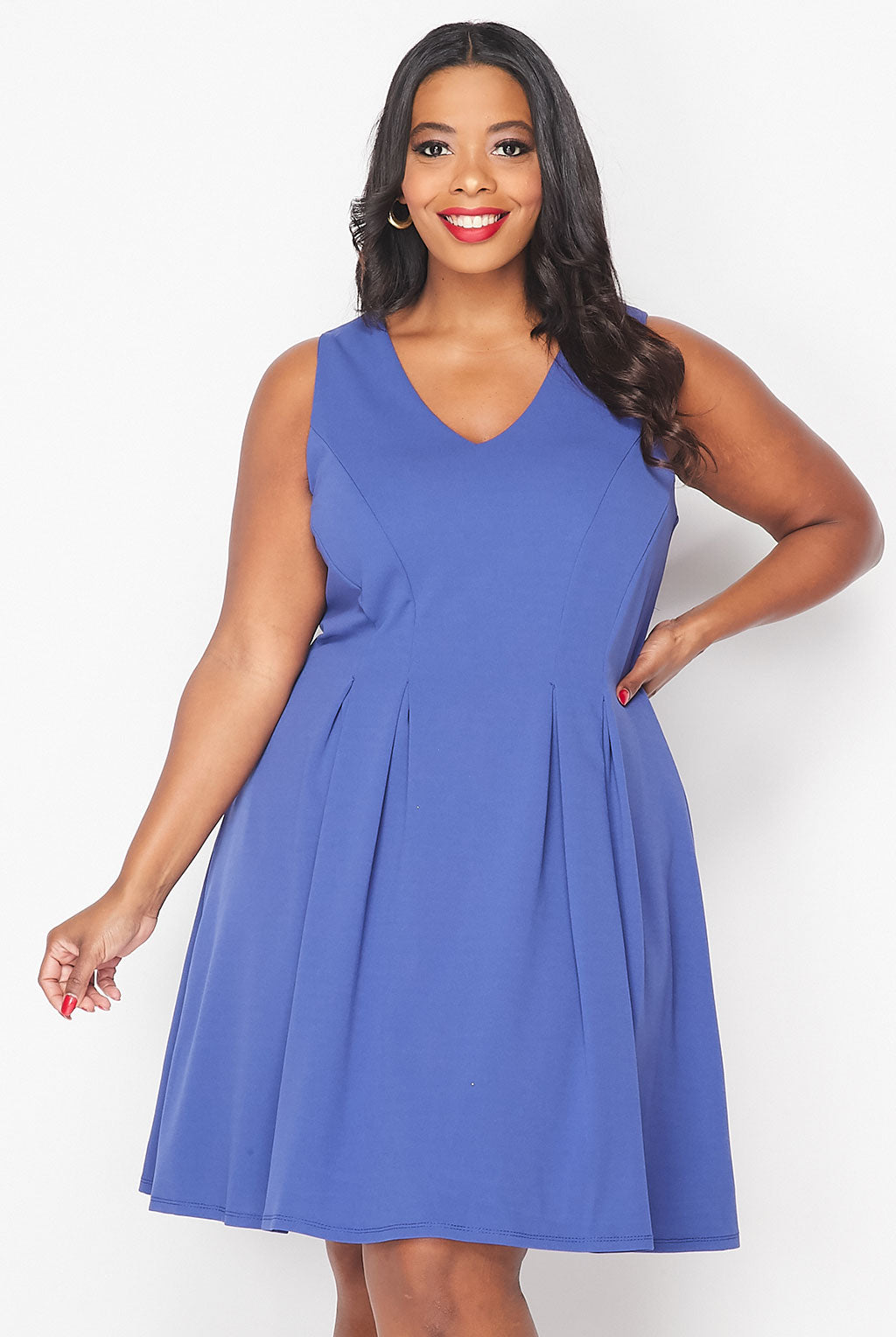 Teeze Me | V-Neck Pleated Skater Dress Plus | Blue Jean