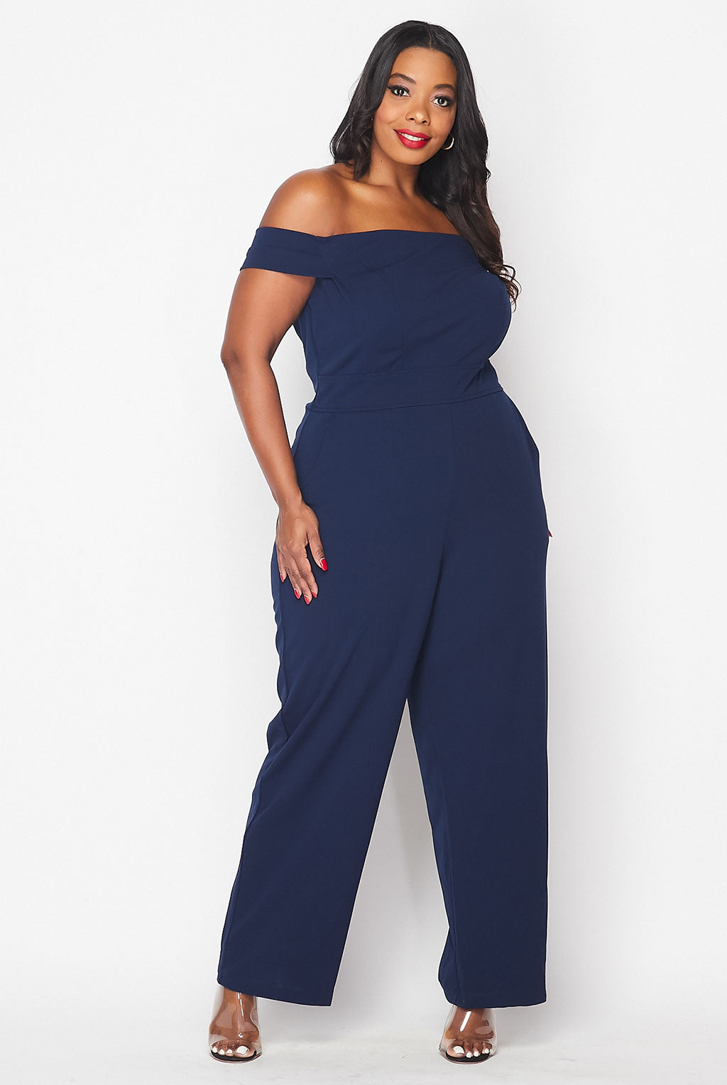 Teeze Me | Off The Shoulder W/ Pockets Jumpsuit Plus | Navy