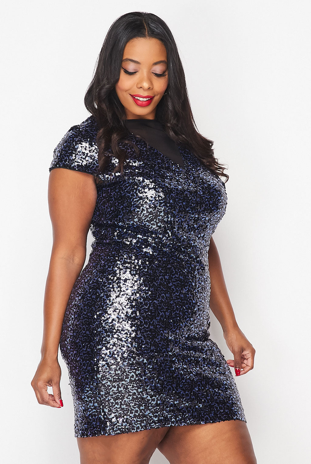 Teeze Me | Mesh Deep V Sequin Bodycon Dress Plus | Navy/Royal
