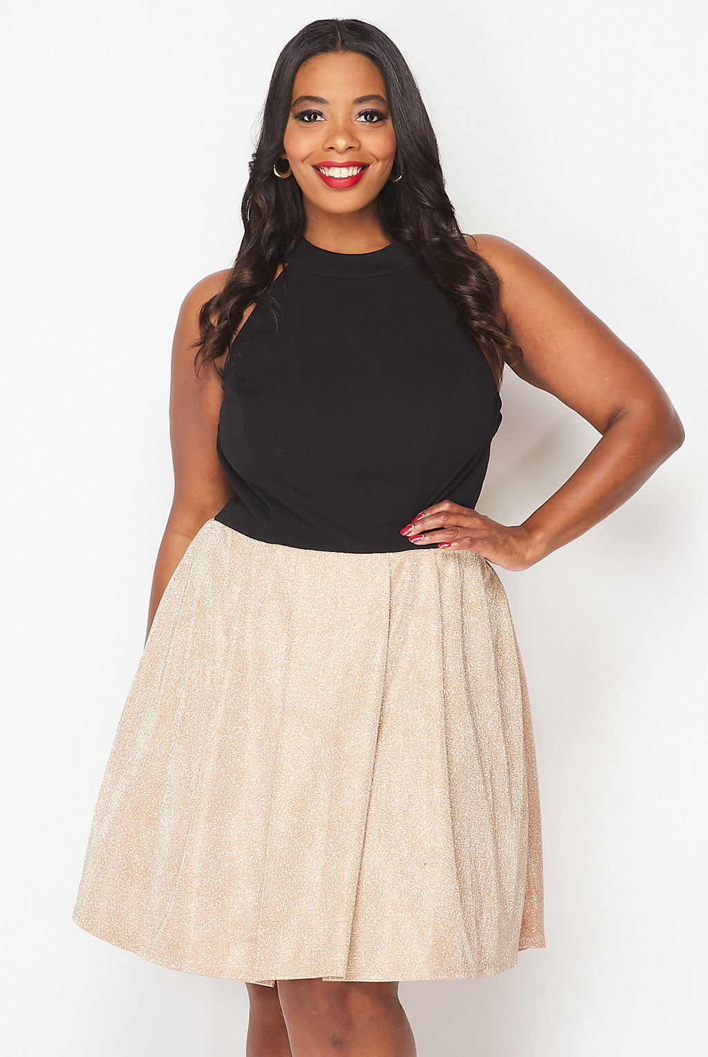 Teeze Me | Halter Top Glitter Skirt Fit And Flare Dress Plus | Gold/Black