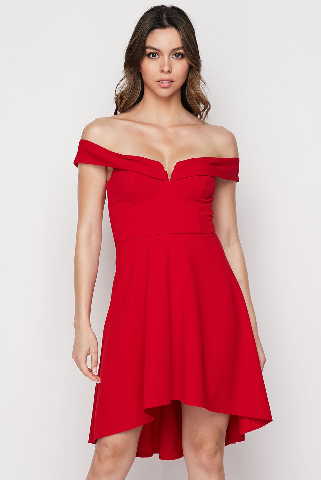 Teeze Me | Off-The-Shoulder V Bar Front High Low Party Dress  | Red