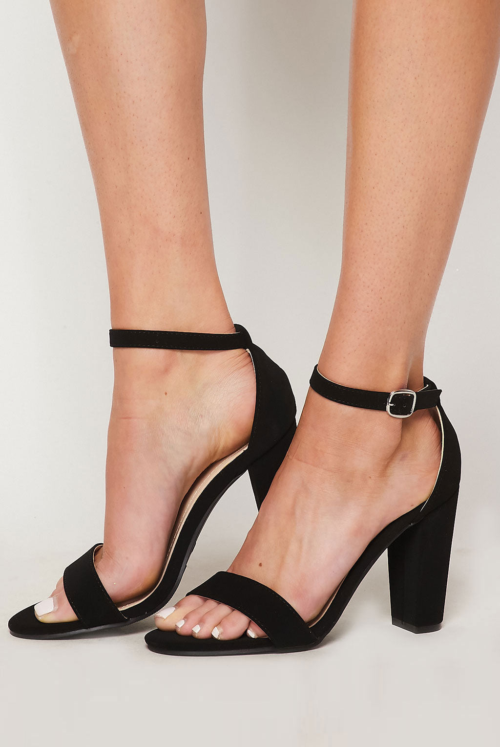 Teeze Me | Single Band Ankle Strap Chunky Heel | Black Nubuc