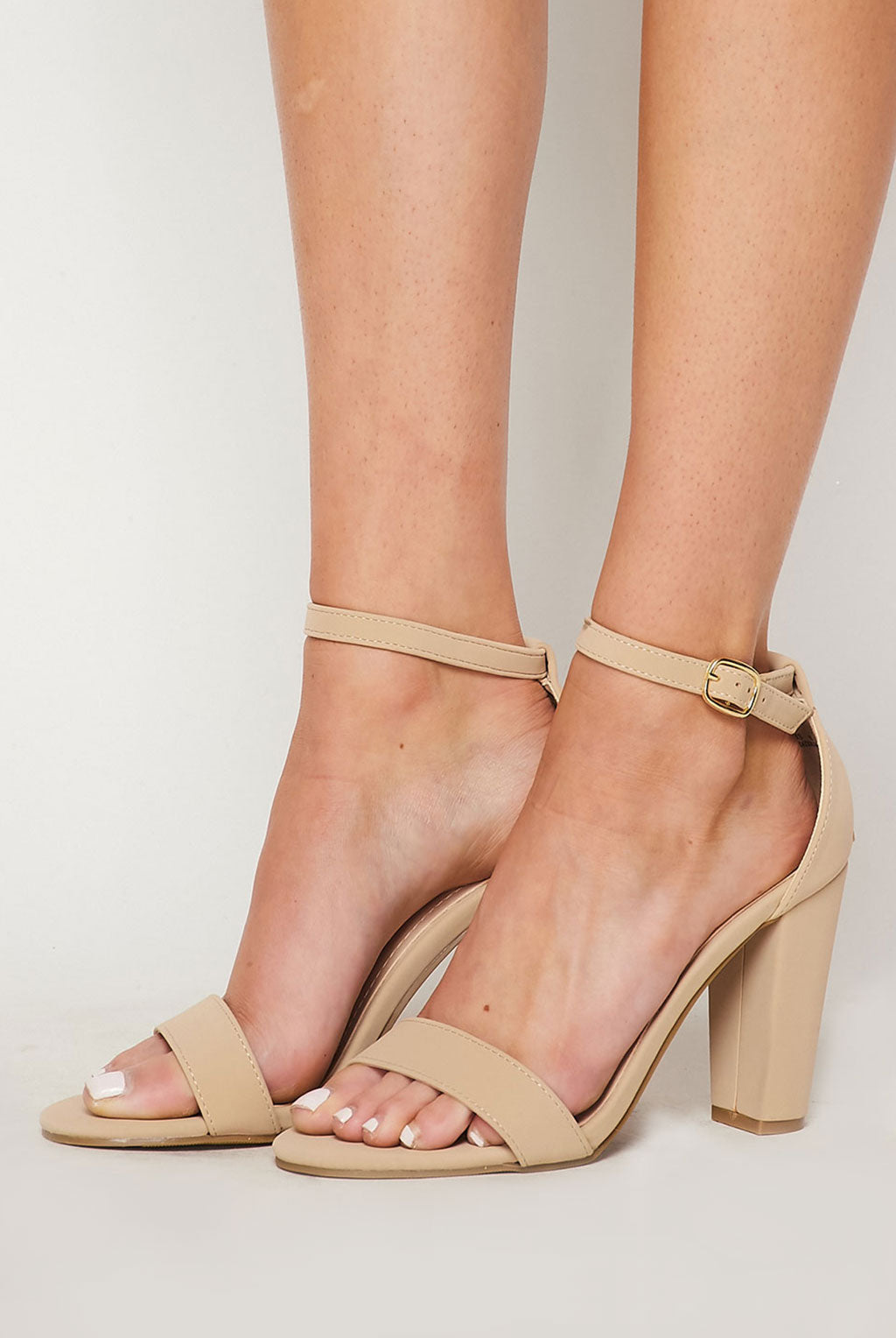 Teeze Me | Single Band Ankle Strap Chunky Heel | Nude Nubuc