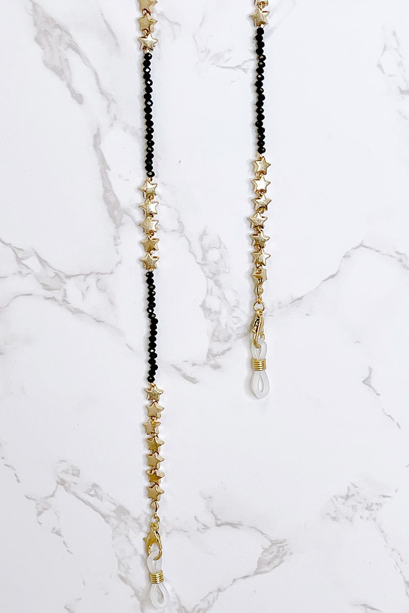 Blank Lewks | Beaded Star Mask Chain or Eye Glass Chain | Black/Gold