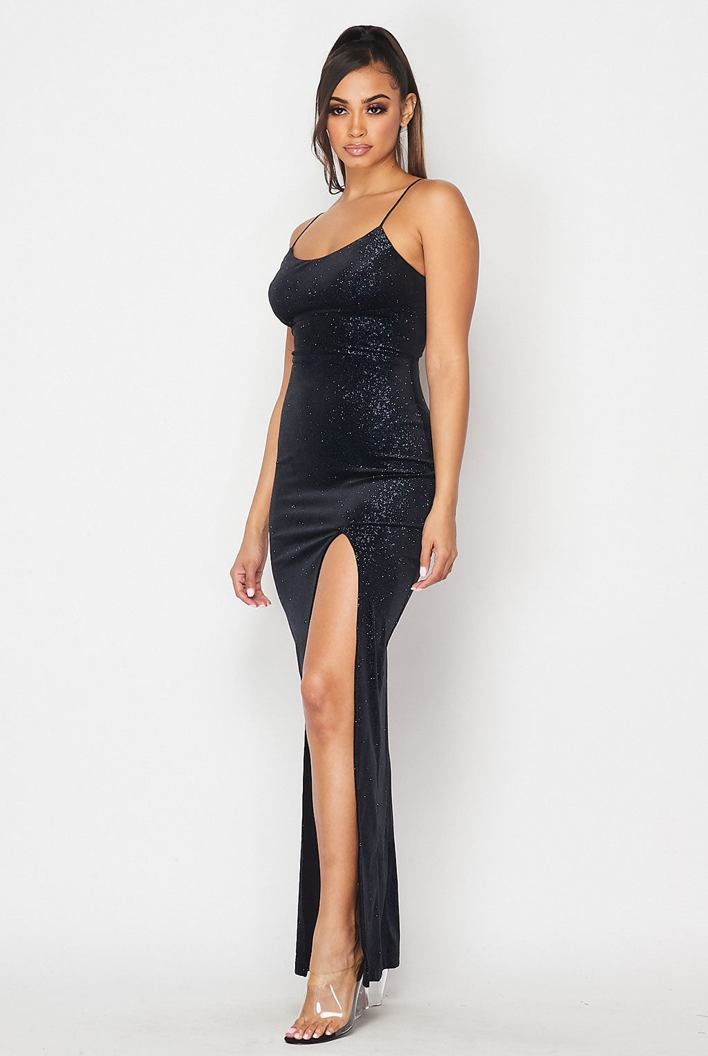 Teeze Me | Glitter Velvet  Spaghetti Strap Gown With Slit | Black/Royal
