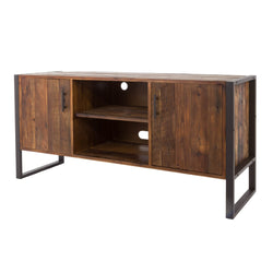 2-Door Distressed Natural Reclaimed Wood TV Stand