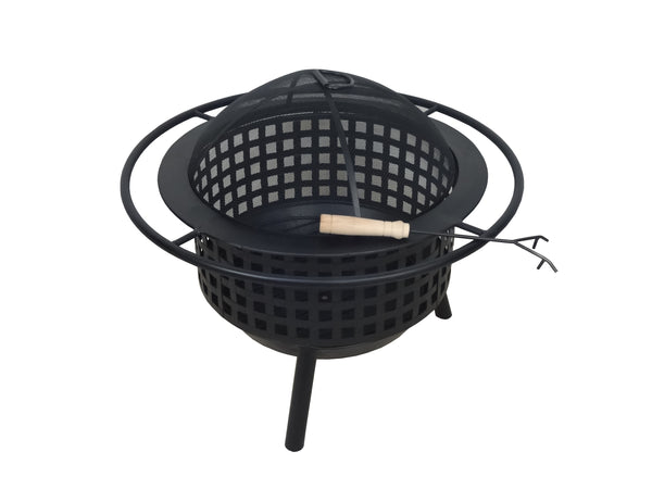 Black Lattice Circular Outdoor Wood Burning Fire Pit