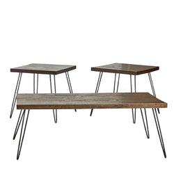 Distressed Natural Wood 3-Piece Occasional Table Set