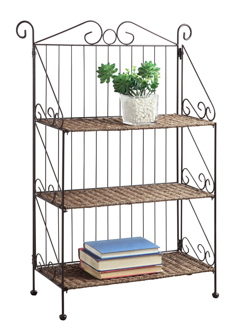 Michael Anthony Furniture Farmington 3 Tier Folding Weave/Black Iron Shelf