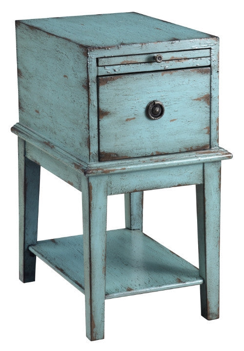 Rustic Blue Chairside Chest