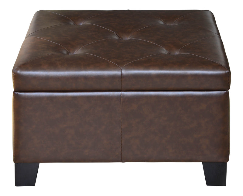 Batavia Brown Tufted Storage Ottoman