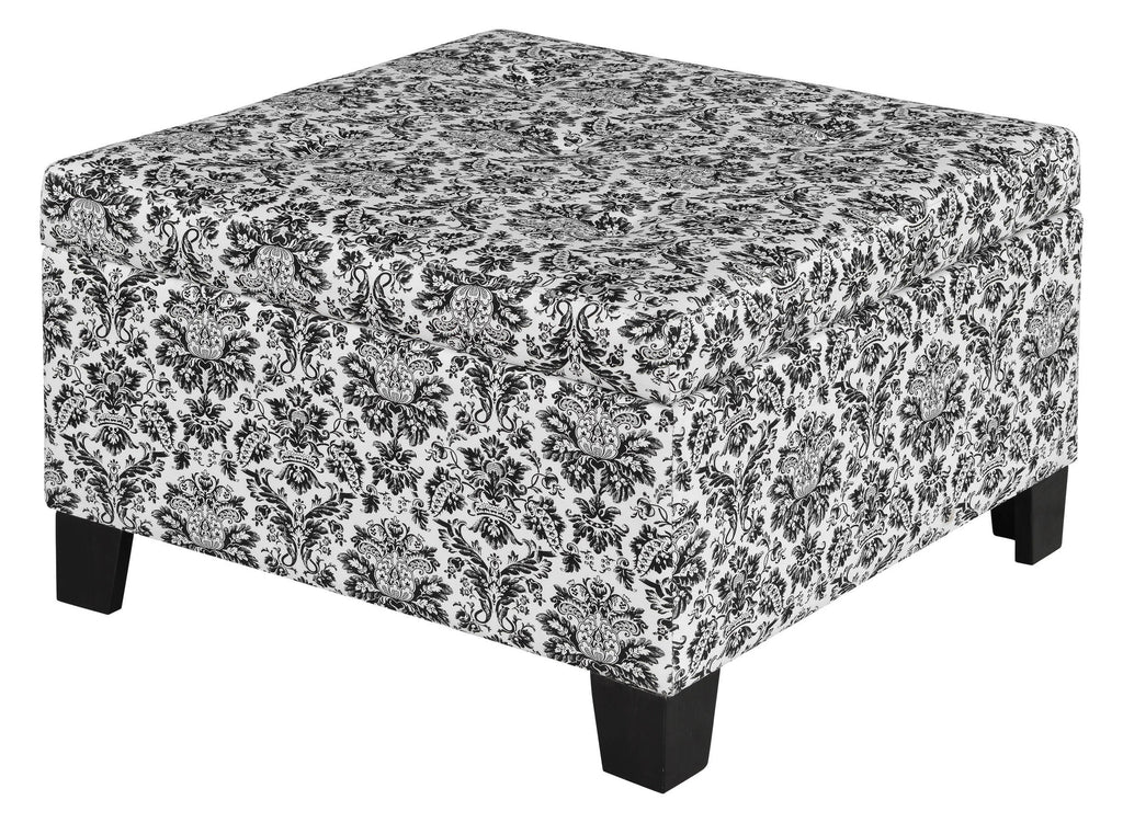 Lockport Black and Ivory Tufted Storage Ottoman