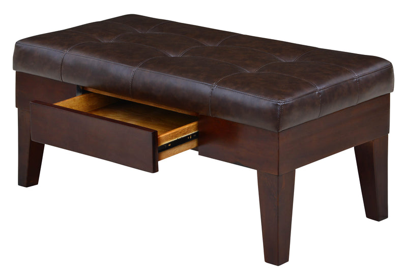 Rockville Brown Tufted One Drawer Storage Bench