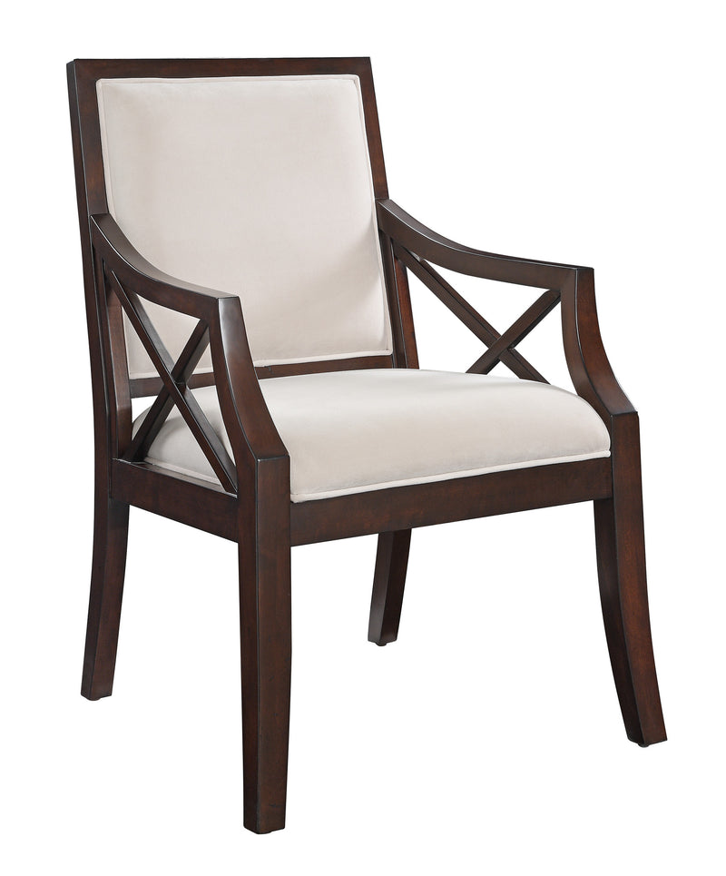 Brown and Beige Birch Wood Accent Chair
