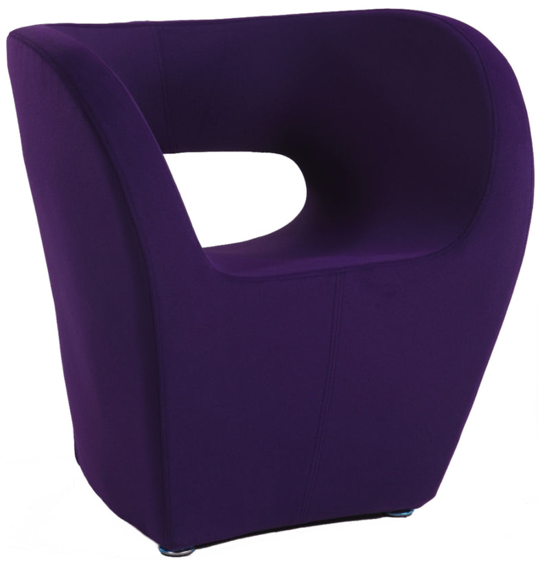 Purple Faux Cashmere Stationary Arm Fun Chair