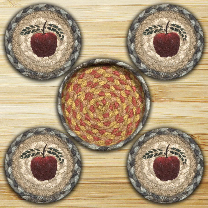Apple Round Coasters in a Basket (Set of 5)