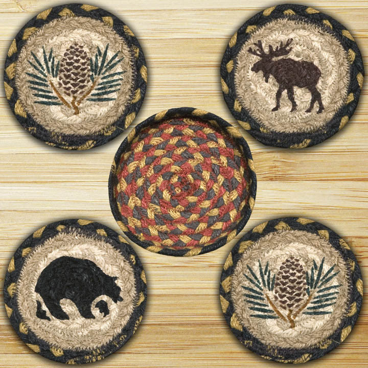 Wilderness Round Coasters in a Basket (Set of 5)