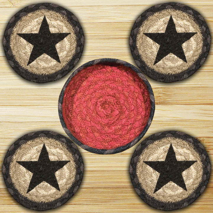 Star Round Coasters in a Basket (Set of 5) 3