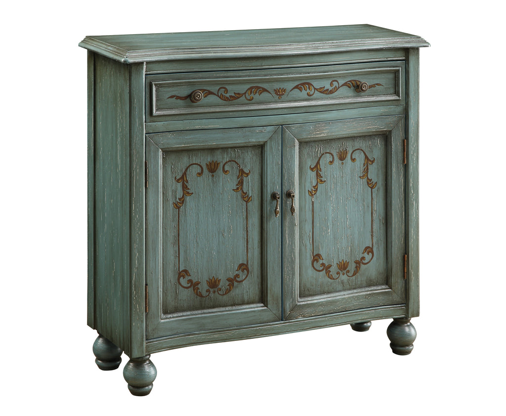 Teal Detailed Accent Cabinet