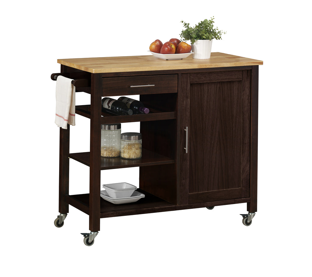 Michael Anthony Furniture Alberta Kitchen Cart With Wood Top on Sturdy Casters