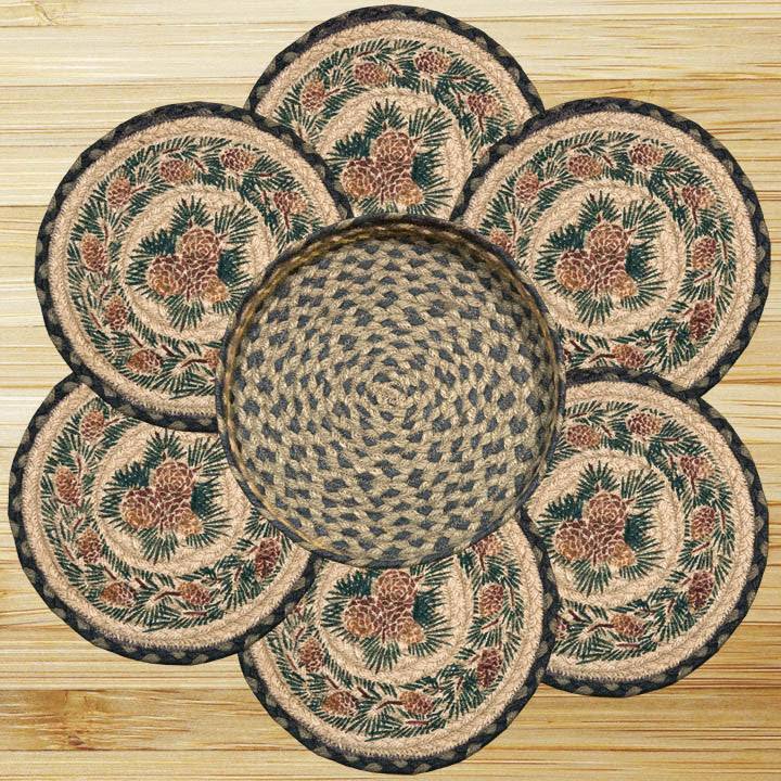 Pinecone Round Trivets in a Basket (Set of 7)