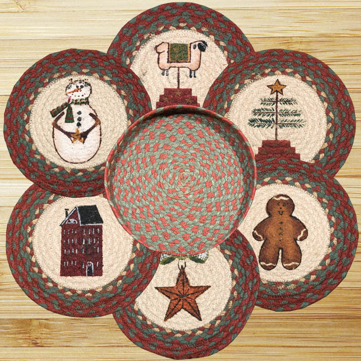 Winter Round Trivets in a Basket (Set of 7)