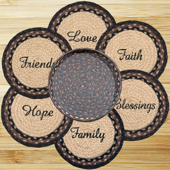 Blessings Round Trivets in a Basket (Set of 7)