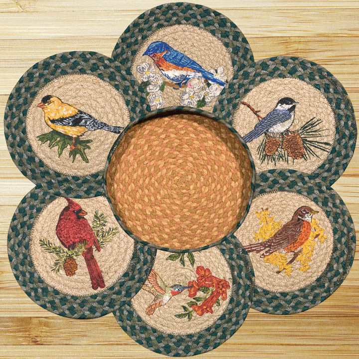 Song Birds Round Trivets in a Basket (Set of 7)