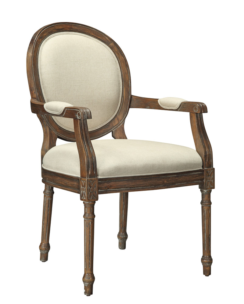 Brown/Beige Oval Back Accent Chair