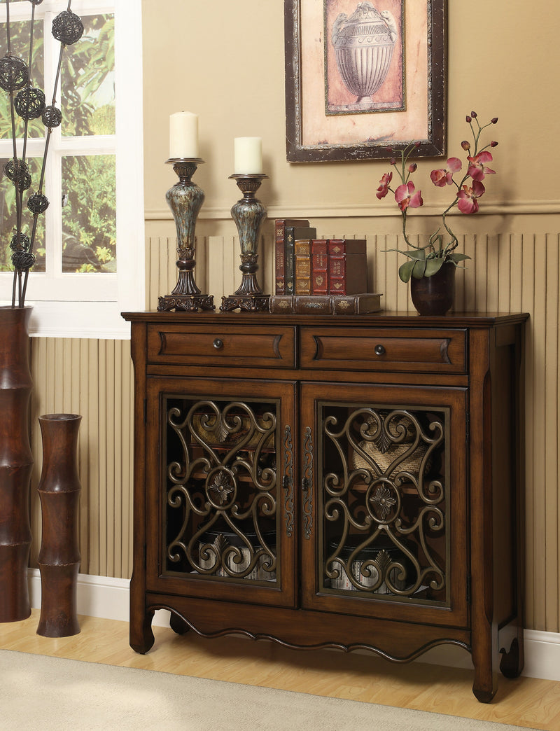 Brown Curved Metal Two Door Cabinet