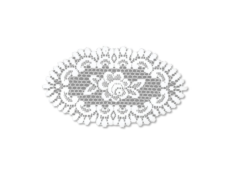 Rose 8X14 Oval Doily, Off White